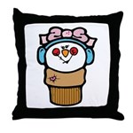 Cute Little Girl Snow Cone Throw Pillow