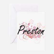 Preston surname artistic design wit Greeting Cards
