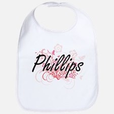 Phillips surname artistic design with Flowers Bib
