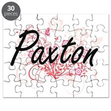 Paxton surname artistic design with Flowers Puzzle