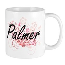 Palmer surname artistic design with Flowers Mugs