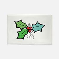 Cute Mistletoe (Holly) Design Rectangle Magnet