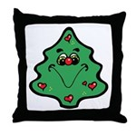Cute Happy Christmas Tree Throw Pillow