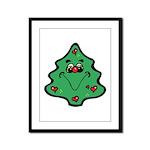 Cute Happy Christmas Tree Framed Panel Print