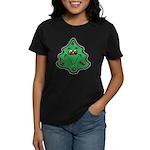 Cute Happy Christmas Tree Women's Dark T-Shirt