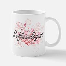 Reflexologist Artistic Job Design with Flower Mugs