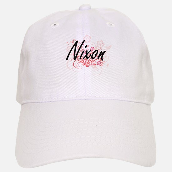 Nixon surname artistic design with Flowers Baseball Baseball Cap