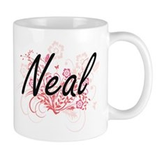 Neal surname artistic design with Flowers Mugs