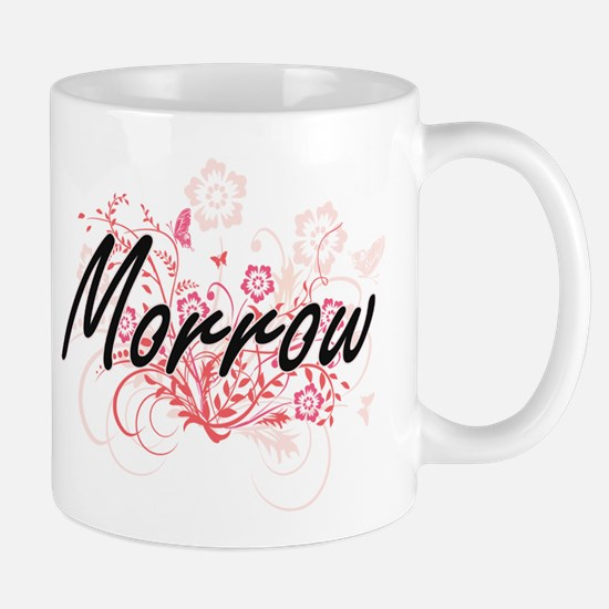 Morrow surname artistic design with Flowers Mugs