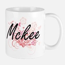 Mckee surname artistic design with Flowers Mugs