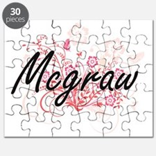 Mcgraw surname artistic design with Flowers Puzzle