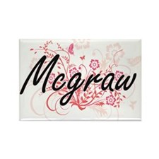 Mcgraw surname artistic design with Flower Magnets