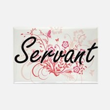 Servant Artistic Job Design with Flowers Magnets