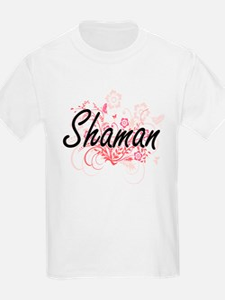 Shaman Artistic Job Design with Flowers T-Shirt