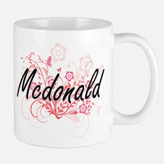 Mcdonald surname artistic design with Flowers Mugs