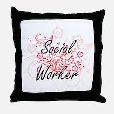 Social Worker Artistic Job Design wit Throw Pillow