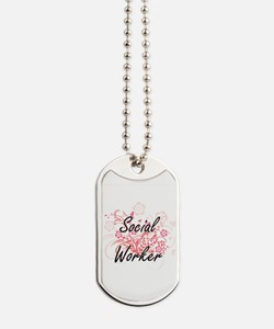 Social Worker Artistic Job Design with Fl Dog Tags