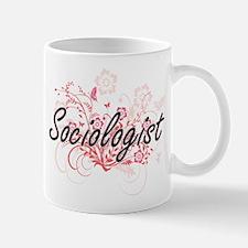 Sociologist Artistic Job Design with Flowers Mugs