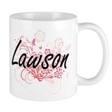 Lawson surname artistic design with Flowers Mugs