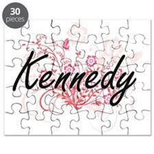 Kennedy surname artistic design with Flower Puzzle