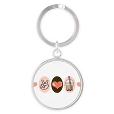 Cute Food and drink beverage Round Keychain