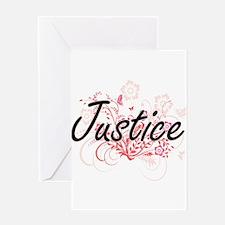 Justice surname artistic design wit Greeting Cards