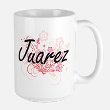 Juarez surname artistic design with Flowers Mugs