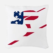 Skier American Flag Woven Throw Pillow