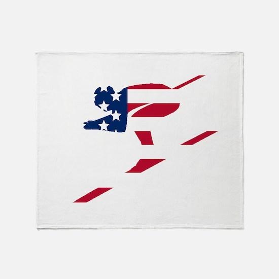 Skier American Flag Throw Blanket