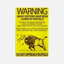 Warning: Buffalo Rectangle Magnet
