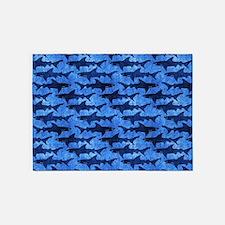 Sharks in the Deep Blue Sea 5'x7'Area Rug