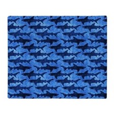 Sharks in the Deep Blue Sea Throw Blanket