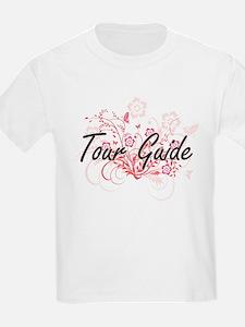 Tour Guide Artistic Job Design with Flower T-Shirt