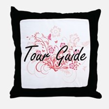 Tour Guide Artistic Job Design with F Throw Pillow