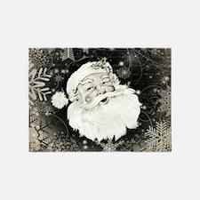Vintage Santa Claus with snowflakes 5'x7'Area Rug