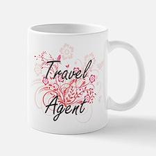 Travel Agent Artistic Job Design with Flowers Mugs