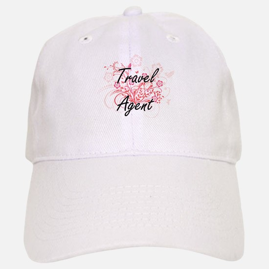 Travel Agent Artistic Job Design with Flowers Baseball Baseball Cap