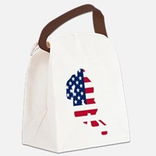 Hockey Player American Flag Canvas Lunch Bag