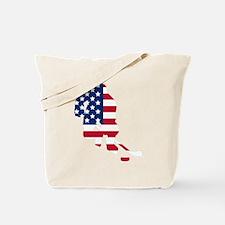 Hockey Player American Flag Tote Bag
