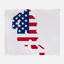 Hockey Player American Flag Throw Blanket