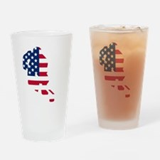Hockey Player American Flag Drinking Glass