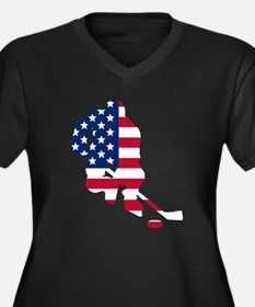 Hockey Player American Flag Plus Size T-Shirt