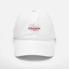 Veterinarian Artistic Job Design with Flowers Baseball Baseball Cap