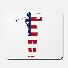 Golf Swing American Flag Mousepad