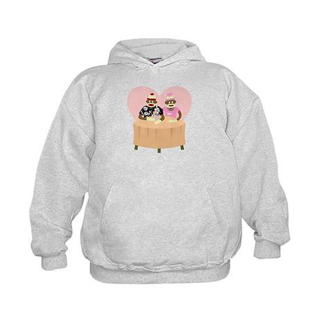 Sock Monkey Boy Girl Love Kids Hooded Sweatshirt