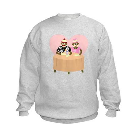 Sock Monkey Boy and Girl Love Kids Sweatshirt