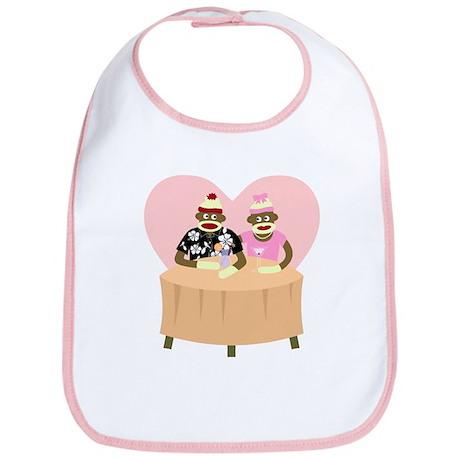 Sock Monkey Boy and Girl Love Baby Bib