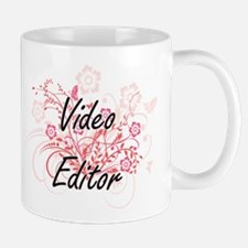 Video Editor Artistic Job Design with Flowers Mugs