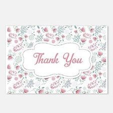 Pink Floral Thank You Postcards (Package of 8)