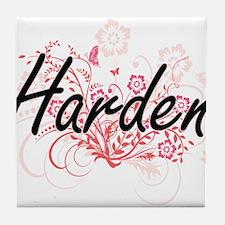 Harden surname artistic design with F Tile Coaster
